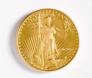 American Eagle 1 ozt. fine gold coin.