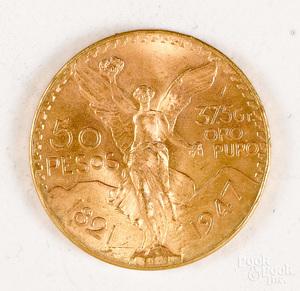 1947 Mexico fifty peso gold coin.