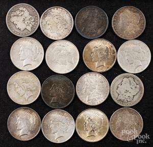 Sixteen silver dollars