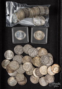Forty-one silver half dollars, etc.
