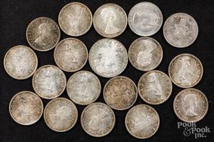 Sixteen Canada silver dollars, etc.
