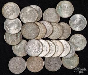 Twenty-five silver dollars