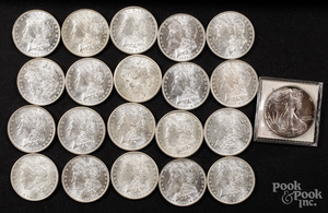 Twenty Morgan silver dollars, etc.