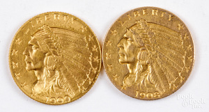 Indian head two and a half dollar gold coins