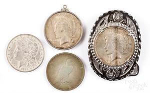 Three Peace silver dollars, etc.