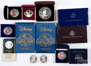 Nine 1 ozt fine silver coins, etc.