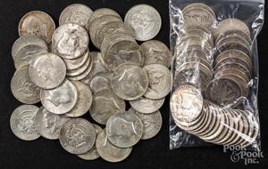 Thirty-five silver half dollars, etc.