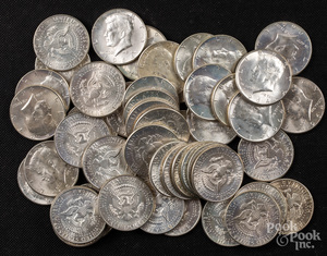Forty-nine 1964 Kennedy half dollars.