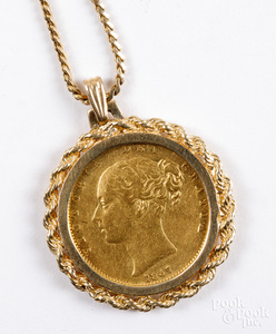 1847 Victoria gold sovereign on a 14K necklace