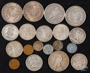 Five silver dollars, etc.