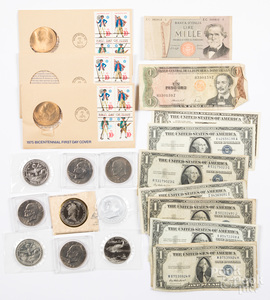 Coins and currency, to include Eisenhower dollars