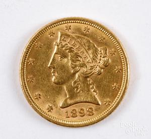 1898 Liberty Head five dollar gold coin.