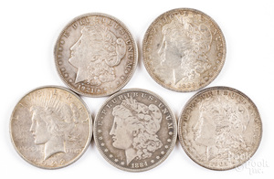 Four Morgan silver dollars, etc.