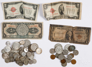 US silver coins, 9.4 ozt., etc.