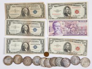 Eleven Morgan silver dollars, etc.