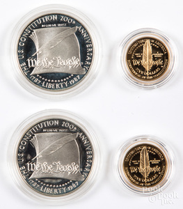 Two US Constitution coin sets