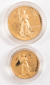 American eagle 1 ozt. and 1/2 ozt. fine gold set