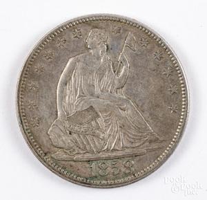 1858 seated half dollar.