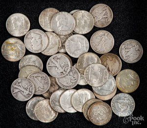 Twenty-eight silver half dollars, etc.