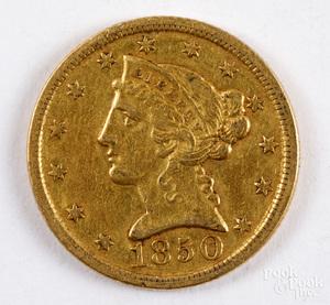 1850-D five dollar Liberty Head gold coin.