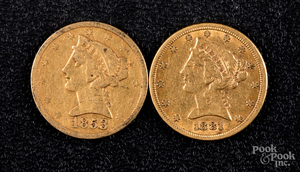 1853 and 1881 five dollar Liberty Head gold coins