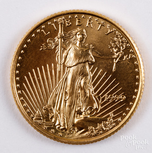Liberty Eagle 1/4 ozt. fine gold coin.