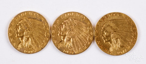 Three Indian Head two and a half dollar gold coins