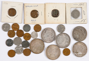US coins, to include six silver dollars.