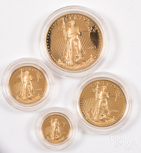 American Eagle gold bullion four coin proof set.
