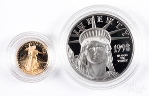 1 ozt. fine platinum American Eagle, etc.