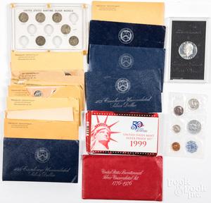 Nine pre-1964 Mint sets, etc.