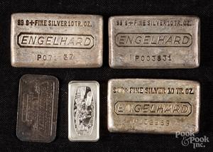 Three Engelhard 10 ozt. fine silver ingots
