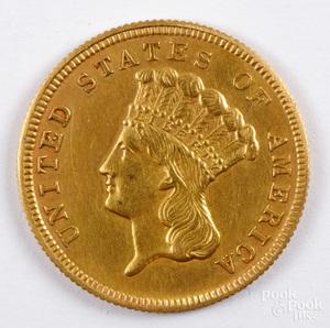 1859 Indian Princess three dollar gold coin.