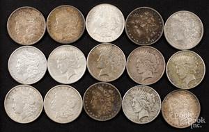 Fifteen silver dollars