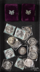 Sixteen American Eagle 1 ozt. fine silver coins.