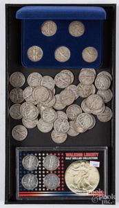 Fifty Walking Liberty silver half dollars, etc.