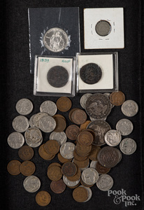 Group of coins, mostly US.