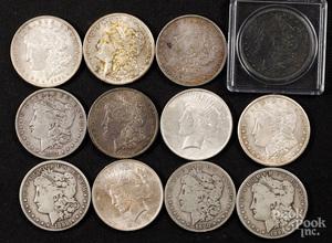 Twelve silver dollars