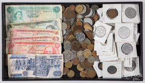 Foreign coins and currency.