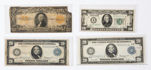 Two US 1914 twenty dollar notes, etc.