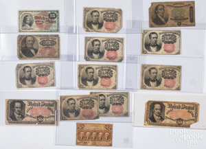 Fractional and postage currency.