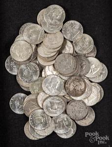 Seventy Franklin silver half dollars