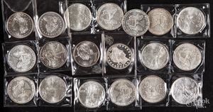Nineteen 1 ozt. fine silver coins.