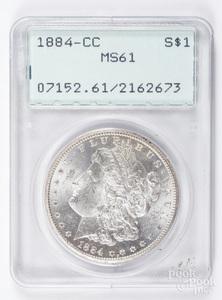 1884-CC Morgan silver dollar PCGS MS61.