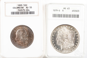 1879-S Morgan silver dollar NGC MS63, etc.