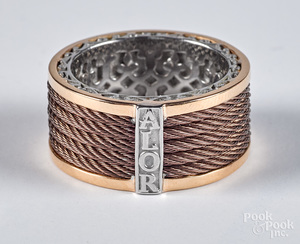 Alor 18K gold, stainless steel and bronze ring