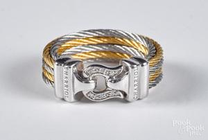 Charriol 18K gold, stainless steel & diamond ring