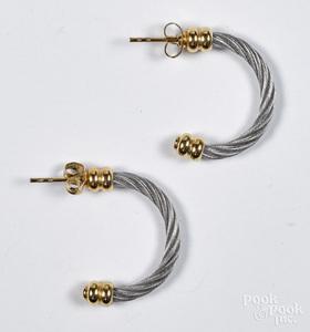 Pair of Charriol 18K gold Celtic hoop earrings