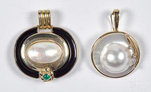 Two 14K gold, abalone, diamond & gemstone pendants