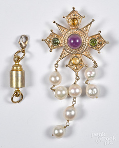 14K gold, gemstone and pearl pendant/brooch